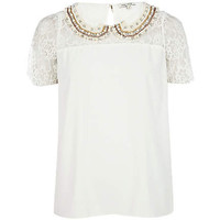 cream lace embellished top