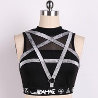 Punk Pentagram Straps Women Tanks Black Women Sexy Tops Sleeveless Gothic Casual Tank Tops