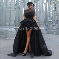 Hot Fashion Black Prom Ball Gown Hi Low Long Mother Daughter Gowns Custom Made Evening Party Dresses Plus Size Women Formal Gown