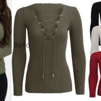 New Womens Tie Lace Up V Neck Ribbed Stretched Knitted Long Sleeve Jumper Top