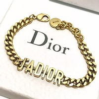 Onewel Dior Fashion New Letter Chain Bracelet Women Accessory Golden