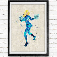 Invisible Woman, Fantastic Four, Watercolor Print, Baby Nursery Room Art, Home Decor, Not Framed, Buy 2 Get 1 Free