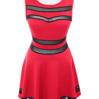 Plus Size Sweetheart Mesh Red Skater Dress, Plus Size Clothing, Club Wear, Dresses, Tops, Sexy Trendy Plus Size Women Clothes