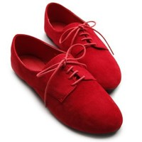 Ollio Women's Ballet?Flat Shoe Faux Suede Lace Up Oxford(5.5 B(M) US, Red)