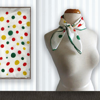 Vintage Polkadot Scarf - Japanese 1960s Scarf - Scarves and Shawls