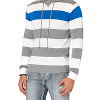 Grey & Blue Striped Pullover Sweater