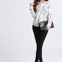 White Printed Long-Sleeve Button Collared Shirt