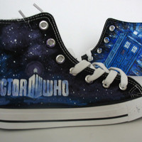 DOCTOR WHO/blue/CUSTOM/converse/hand painted shoes/canvas shoes/