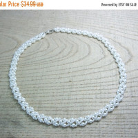 SALE White necklace Pearl white necklace Classic necklace white wedding necklace glass beads necklace beadwork seed beads necklace