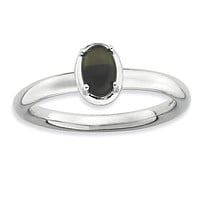 Sterling Silver Stackable Expressions Onyx Polished Ring