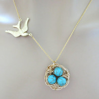 Bird, Nest, Necklace, Gold, Bird, And, Turquoise, Eggs, Necklace, Modern, Lovely, Necklace, Cute Mother's Day Gift, Christmas Gift, Jewelry