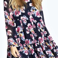 Beau Large Floral Woven Smock Dress