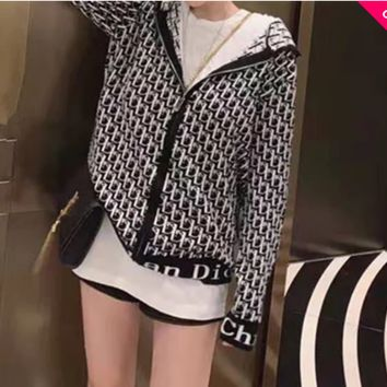 """""""Dior"""" Women Fashion Retro Letter Long Sleeve Multicolor Zip Hooded Knitwear Casual Tops"""