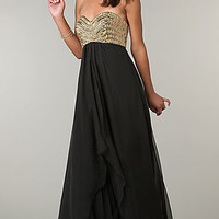 Strapless Long Empire Waist Gown by Alyce