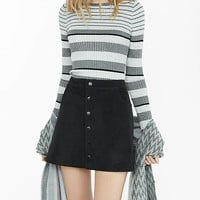 Mixed Stripe Fitted Crew Neck Sweater from EXPRESS