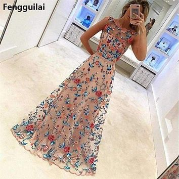 Women Long Prom Floral Formal Evening Party Dress Ladies Flower Embroidery Gown Tulle Full Dress