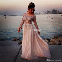 2014 Gorgeous Crystal Beaded Elie Saab Prom Dresses Sheer Scoop Neck Long Sleeves A-Line Chiffon Evening Gowns Pageant Dress