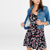 Black Floral Print Sweetheart Neckline Cami Sundress from EXPRESS