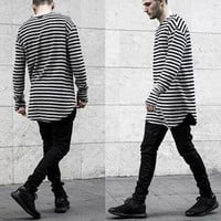 Long and Short Sleeve Striped Curved Hem T-Shirt