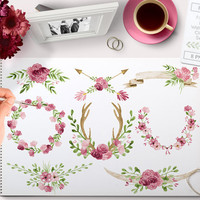 Watercolor Clipart Wreaths Pink, Laurels, Banner, Flowers, Ampersand, Antlers, Horns, Arrow perfect for Floral wedding invitations