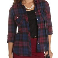 Plaid Flannel Button-Up Top by Charlotte Russe - Navy Combo