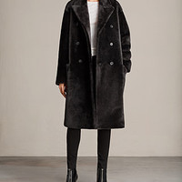 ALLSAINTS US: Womens Anstey Shearling Coat (MAGMA GREY)