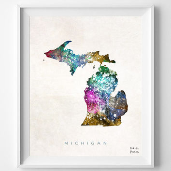 Michigan Map, Lansing Poster, Painting, Watercolor, Nursery, Room, Home Town, Wall Art, USA, States, America, Wall Decor, Gift [NO 359]