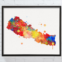 Nepal Map, Nepal Poster, Nepal Print, Watercolor Map, Map Art Print, Map Poster, Country Map, Travel Print, Geography Poster, Framed Art