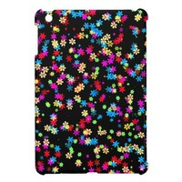 Yellow, Red, Blue, Green, Purple Flowers On Black iPad Mini Covers from Zazzle.com