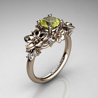 Nature Inspired 14K Rose Gold 1.0 Ct Yellow Topaz Diamond Leaf Vine Unique Floral Engagement Ring R1026-14KRGDYT