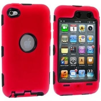 TOOGOO Red Deluxe Hybrid Premium Rugged Hard Soft Case Skin Cover for iPod Touch 4th Generation 4G 4