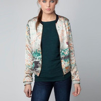 Multi Color Landscape Print Zip Pocket Jacket