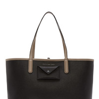 Marc By Marc Jacobs Black And Taupe Etched Leather Tote 48