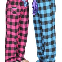 Alki'i 2-pack Women's Flannel Pajama Pants set with satin detail, Turquoise/Fuchsia, M