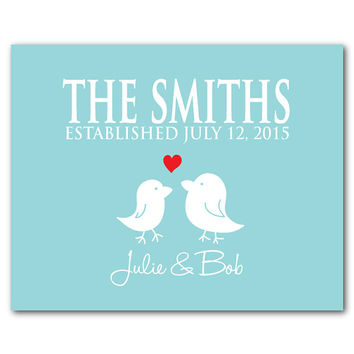 Customizable wedding gift - Personalized Wedding Art - Love Birds - couples art Typography - Anniversary Gift - Heart - Housewarming gift