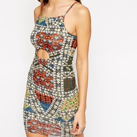 ASOS PETITE Glam Festival Bodycon Dress with Cut Out Detail