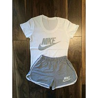 NIKE Women Casual Print Short Sleeve Sweatpants Set Two-Piece Sportswear