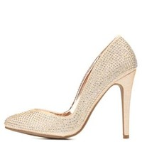 Rhinestone-Studded Pointed Toe Pumps by Charlotte Russe
