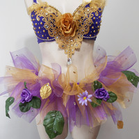 Purple and Gold Rave Bra Custom Event Bra Bows by SugarRoxCouture