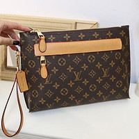 LV Louis Vuitton Women Fashion Leather Clutch Bag Wristlet Handbag