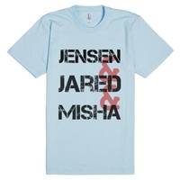 Supernatural Jensen, Jared, Misha-Unisex Light Blue T-Shirt