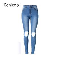 Women's new fashion new style jeans Full Length high-waist Ripped jeans Skinny Hole Denim Pencil Pants Stretch Waist Women Jeans