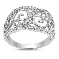 Sterling Silver Filagree Scroll Pave Twist Cubic Zirconia Ring