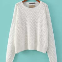 White Rhombic Knit Long Sleeve Sweater
