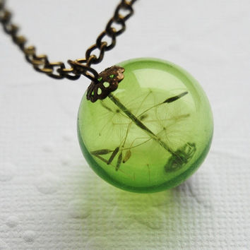 Dandelion Necklace Green Real Dandelion Seeds Make A Wish Large Bead Necklace Botanical  Glass Orb Globe Beadwork