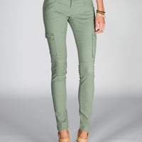 Almost Famous Womens Skinny Twill Cargo Pants Army  In Sizes