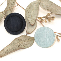 Vintage Fabric Button Rings, Navy Blue and Blue/Gray Fabric Button Rings, Button Rings, Fabric Rings, Upcycled Rings