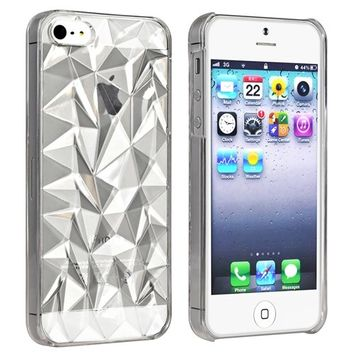 Clear 3D Abstract Polygon Diamond Crystal Texture Hard PC Back Case Cover For iPhone 5