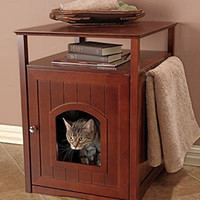 Pet Rite Collection Walnut Cat Washroom Litter Box Cover