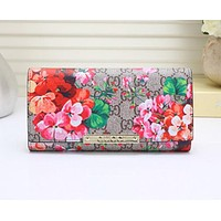 Gucci Women Fashion Leather Letter Flower Print Purse Wallet I